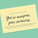 Thank you to our peer reviewers! by Julie Goldman