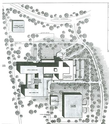 Early architectural drawing of UMass Medical School campus